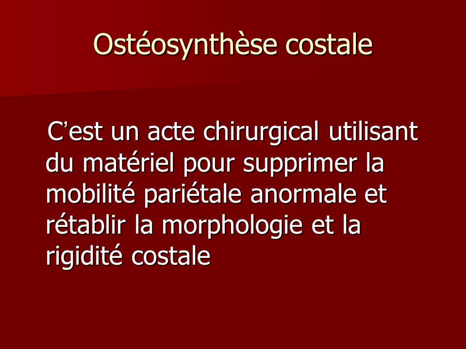 Ostéosynthèse costale Cest un acte chirurgical utilisant du matériel pour supprimer la mobilité pariétale anormale et rétablir la morphologie et la ri