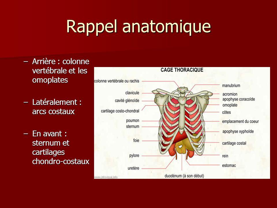 Rappel anatomique Charpente musculo- aponévrotique –en arrière : les muscles para-vertébraux –latéralement : les muscles intercostaux, gd dorsal, gd dentelé –en avant : les muscles pectoraux –au dessus et en avant : les muscles sterno-cléido- mastoïdiens,