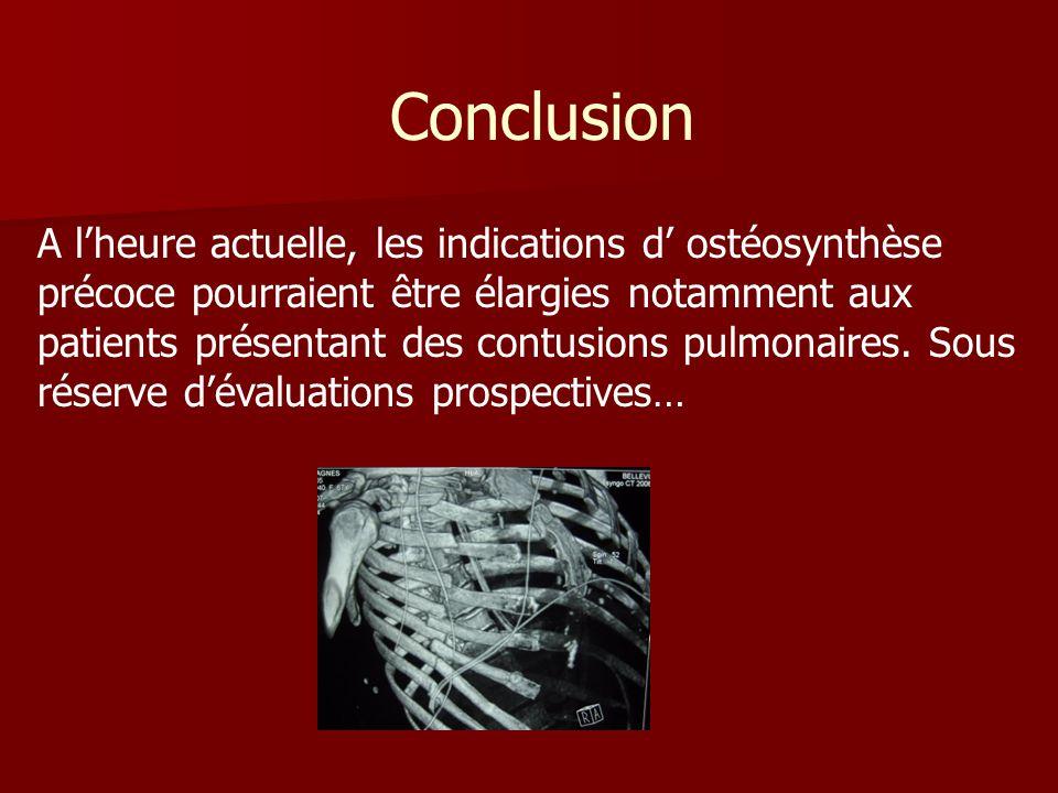 Conclusion A lheure actuelle, les indications d ostéosynthèse précoce pourraient être élargies notamment aux patients présentant des contusions pulmon