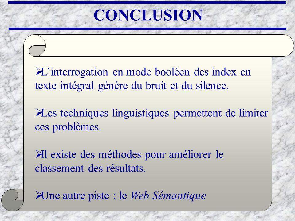 CONCLUSION Linterrogation en mode booléen des index en texte intégral génère du bruit et du silence. Les techniques linguistiques permettent de limite