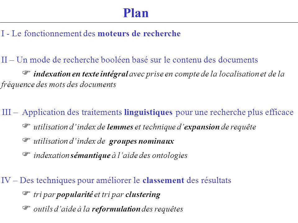 Plan I - Le fonctionnement des moteurs de recherche II – Un mode de recherche booléen basé sur le contenu des documents indexation en texte intégral a