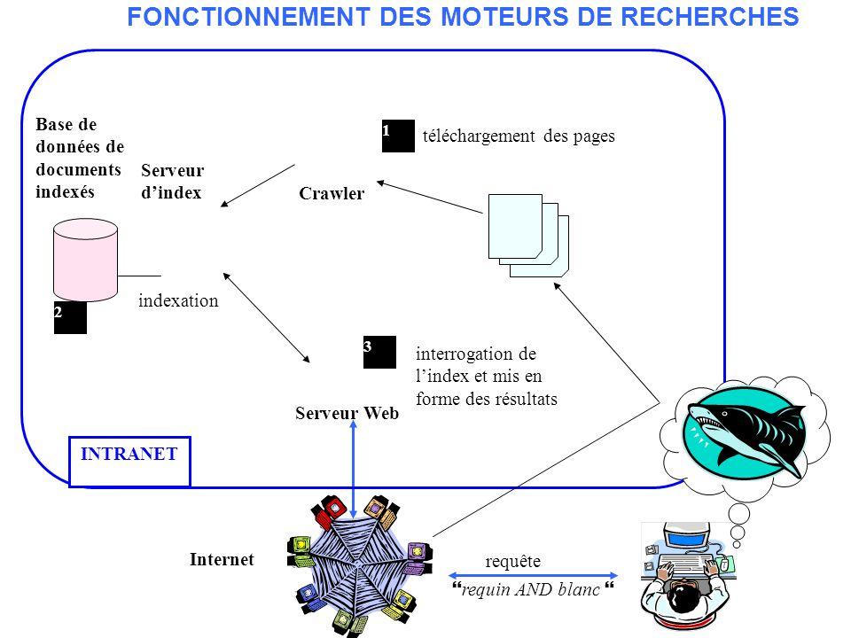 Indexation en texte intégral Page Web N°2 url : www.dietetique.fr Texte : … un homme mange le blanc dœuf … INDEX page 2 www.dietetique.fr F E U T I M Poids Homme : 1 0 0 0 0 0 1 Blanc : 1 0 0 0 0 0 1 Recherche : 1 0 0 0 0 0 1 INDEX page 1 www.dents_de_la_mer.fr F E U T I M Poids Requin :2 0 0 1 1 0 4 Blanc :1 0 0 1 0 0 2 Homme :1 0 0 0 0 0 1 … Page Web N°1 url : www.dents_de_la_mer.fr Titre : Le grand requin blanc.