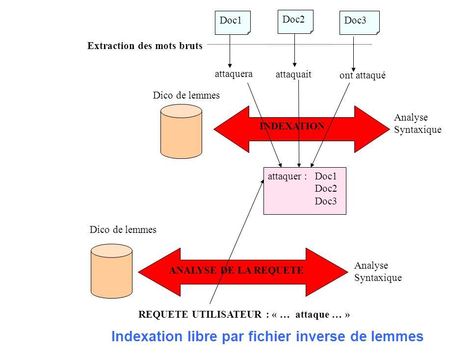 Extraction des mots bruts attaquera attaquait ont attaqué Dico de lemmes INDEXATION Analyse Syntaxique attaquer : Doc1 Doc2 Doc3 REQUETE UTILISATEUR :