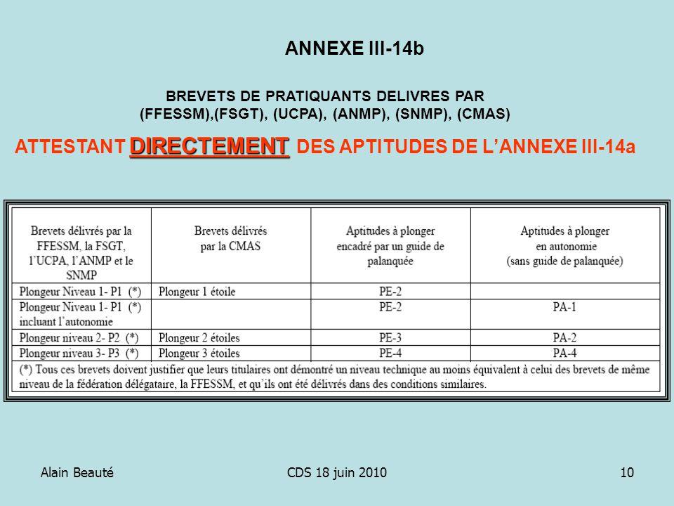 Alain BeautéCDS 18 juin 201010 BREVETS DE PRATIQUANTS DELIVRES PAR (FFESSM),(FSGT), (UCPA), (ANMP), (SNMP), (CMAS) DIRECTEMENT ATTESTANT DIRECTEMENT D