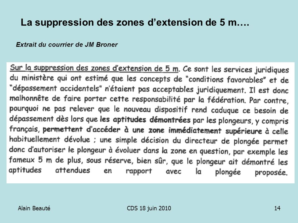 Alain BeautéCDS 18 juin 201014 Extrait du courrier de JM Broner La suppression des zones dextension de 5 m….