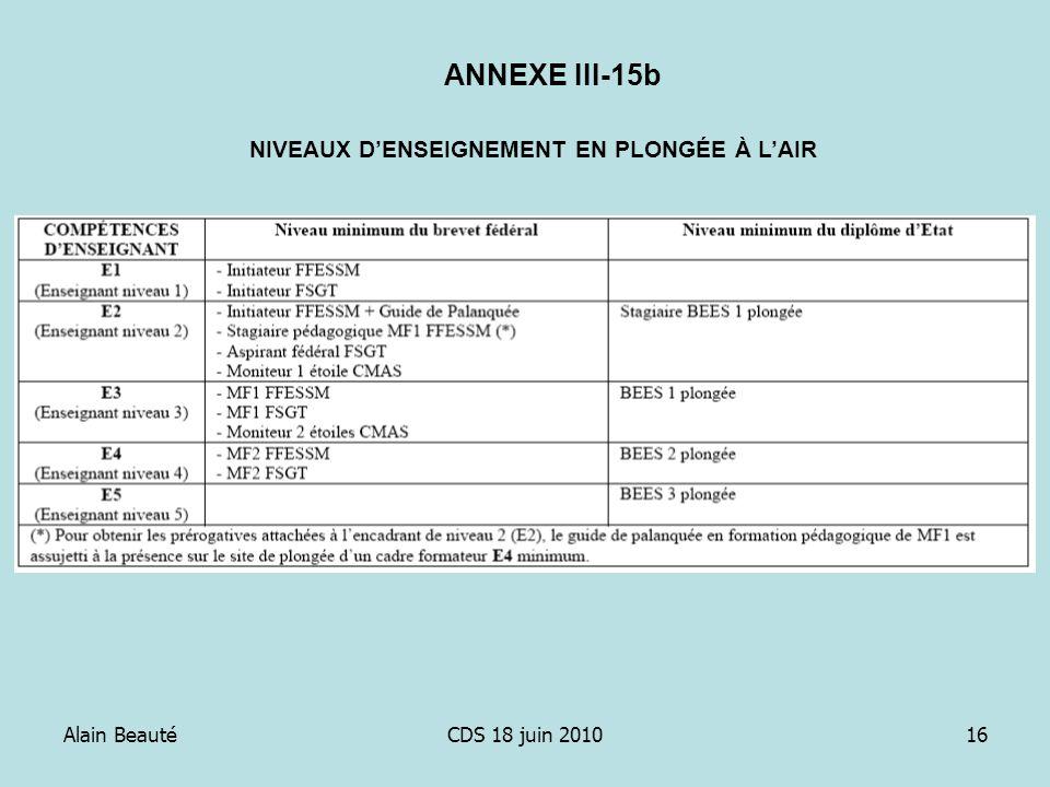 Alain BeautéCDS 18 juin 201016 NIVEAUX DENSEIGNEMENT EN PLONGÉE À LAIR ANNEXE III-15b