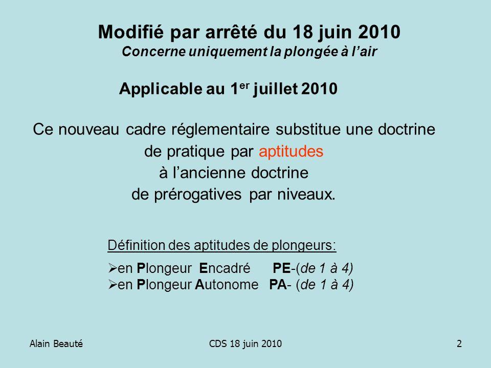 Alain BeautéCDS 18 juin 20102 Ce nouveau cadre réglementaire substitue une doctrine de pratique par aptitudes à lancienne doctrine de prérogatives par
