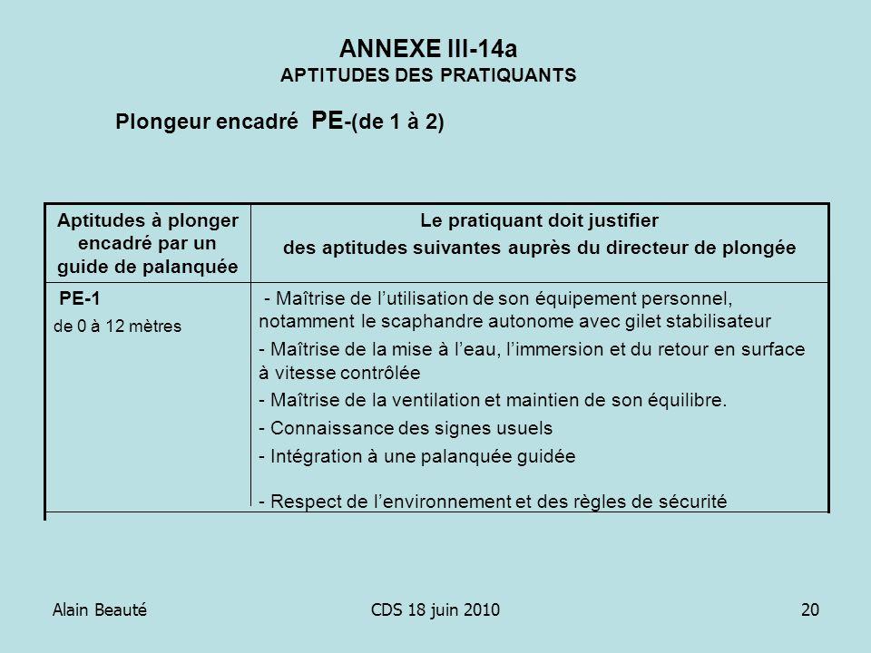 Alain BeautéCDS 18 juin 201020 ANNEXE III-14a APTITUDES DES PRATIQUANTS - Maîtrise de lutilisation de son équipement personnel, notamment le scaphandr