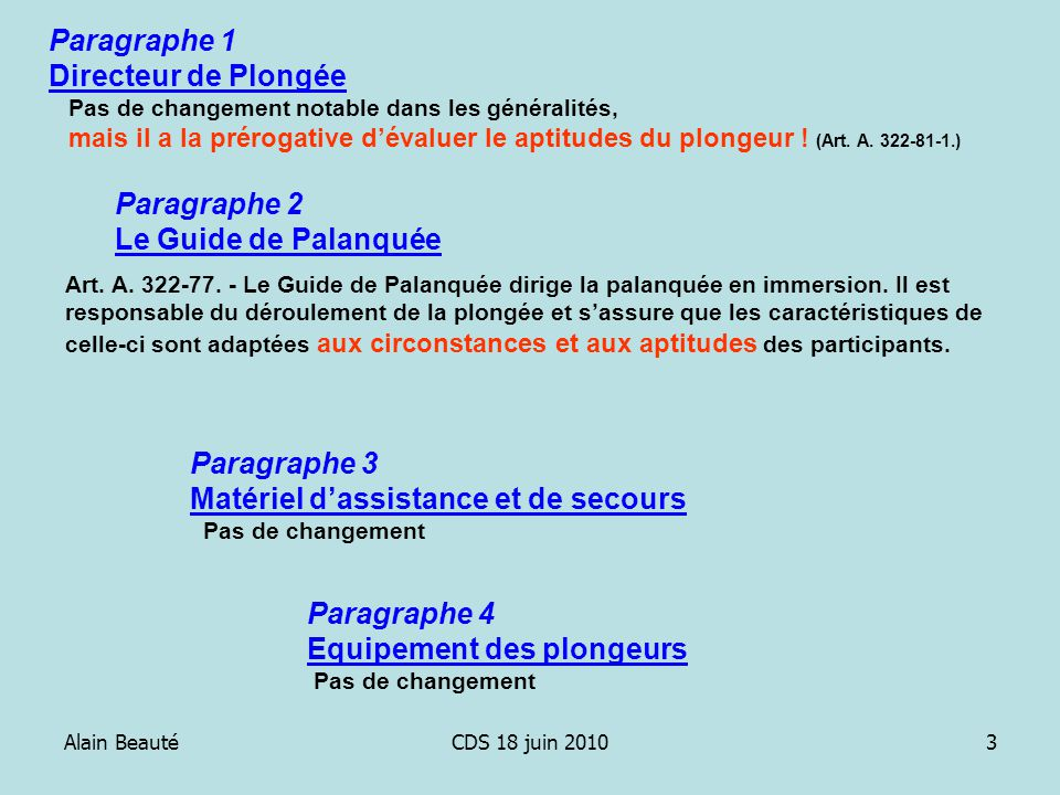 Alain BeautéCDS 18 juin 20103 Paragraphe 1 Directeur de Plongée Pas de changement notable dans les généralités, mais il a la prérogative dévaluer le a
