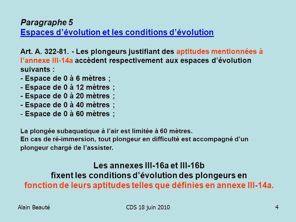 Alain BeautéCDS 18 juin 20104 Paragraphe 5 Espaces dévolution et les conditions dévolution Art. A. 322-81. - Les plongeurs justifiant des aptitudes me
