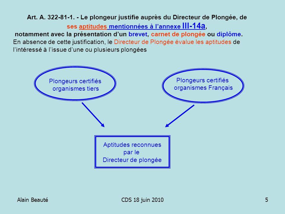 Alain BeautéCDS 18 juin 20105 Art. A. 322-81-1. - Le plongeur justifie auprès du Directeur de Plongée, de ses aptitudes mentionnées à lannexe III-14a,