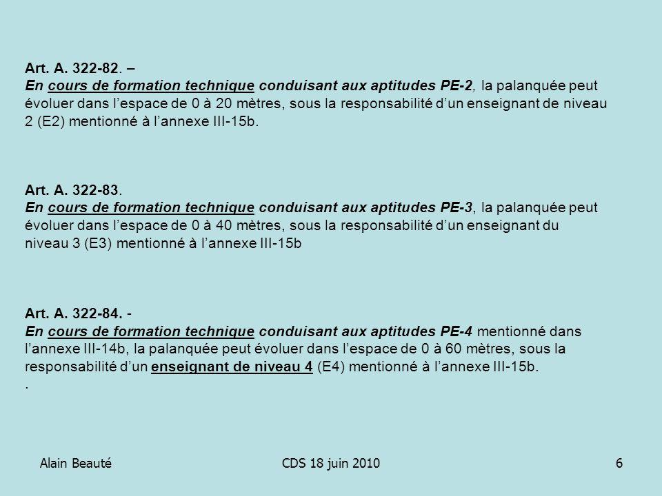 Alain BeautéCDS 18 juin 20106 Art. A. 322-82. – En cours de formation technique conduisant aux aptitudes PE-2, la palanquée peut évoluer dans lespace