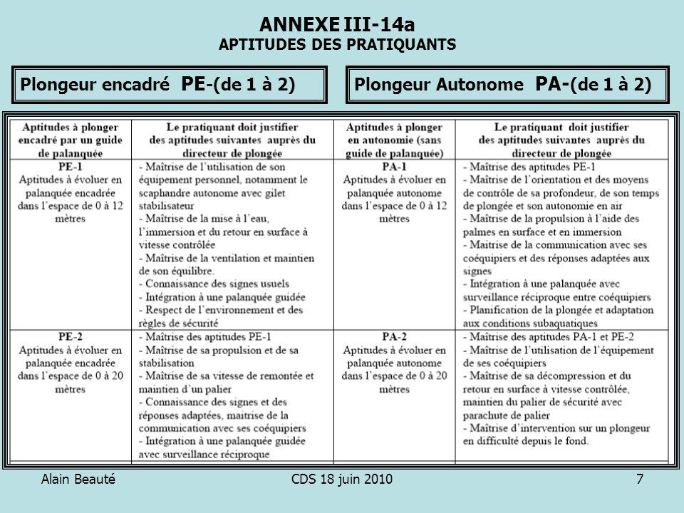 Alain BeautéCDS 18 juin 20107 ANNEXE III-14a APTITUDES DES PRATIQUANTS Plongeur encadré PE -(de 1 à 2)Plongeur Autonome PA- (de 1 à 2)
