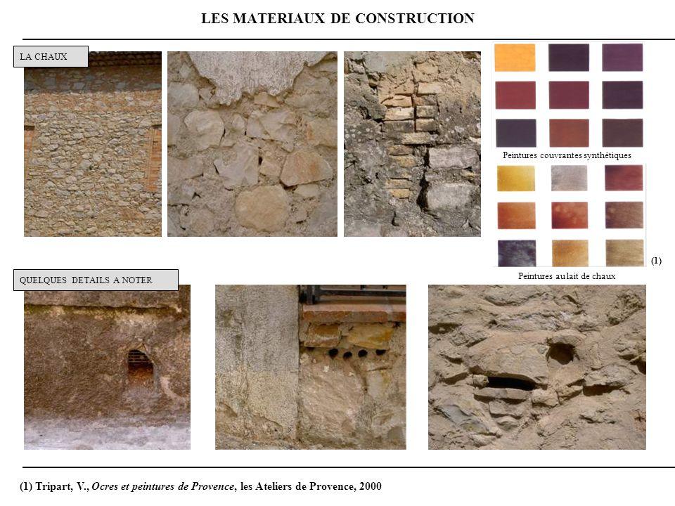 LES MATERIAUX DE CONSTRUCTION LA CHAUX Peintures couvrantes synthétiques Peintures au lait de chaux QUELQUES DETAILS A NOTER (1) Tripart, V., Ocres et peintures de Provence, les Ateliers de Provence, 2000 (1)