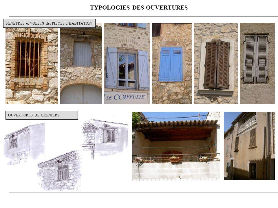 TYPOLOGIES DES OUVERTURES OUVERTURES DE GRENIERS FENETRES et VOLETS des PIECES dHABITATION