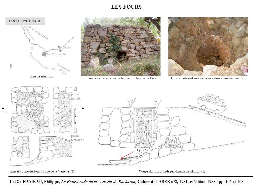 LES FOURS LES FOURS A CADE Coupe du four à cade pendant la distillation (2) partie initiale partie restaurée Plan et coupe du four à cade de la Verrerie (1) Plan de situation Four à cade restauré de la rive droite vue de faceFour à cade restauré de la rive droite vue de dessus 1 et 2 : HAMEAU, Philippe, Le Four à cade de la Verrerie de Rocbaron, Cahier de lASER n°2, 1981, réédition 1988, pp.