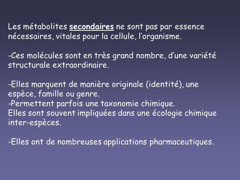 Les métabolites secondaires ne sont pas par essence nécessaires, vitales pour la cellule, lorganisme. -Ces molécules sont en très grand nombre, dune v