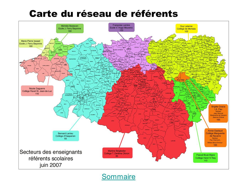 Carte du réseau de référents Sommaire