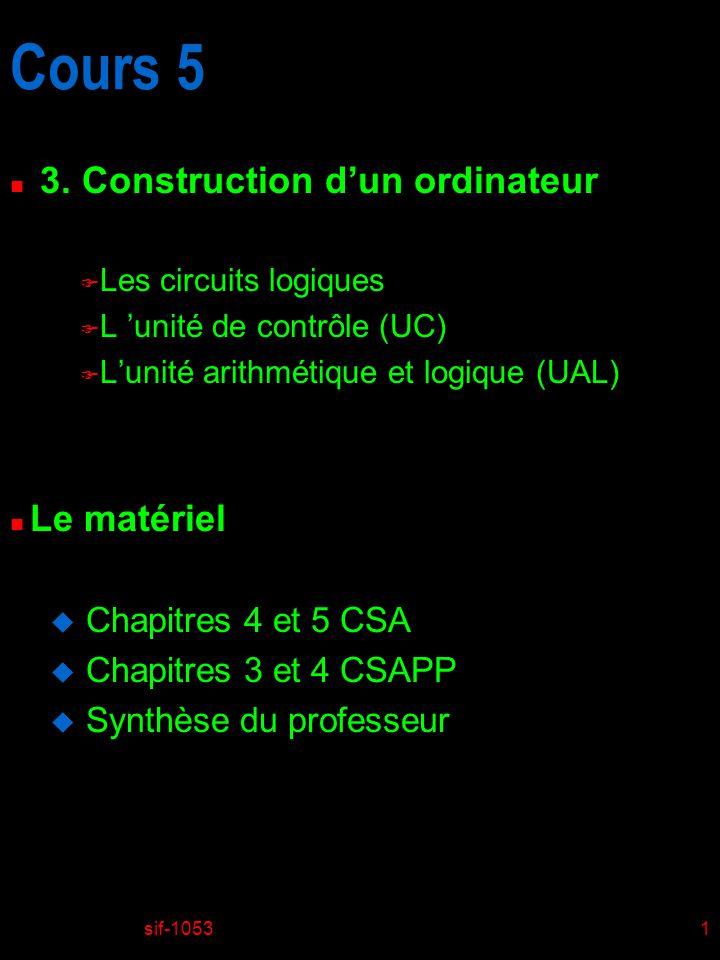 sif-10531 Cours 5 n 3. Construction dun ordinateur F Les circuits logiques F L unité de contrôle (UC) F Lunité arithmétique et logique (UAL) n Le maté