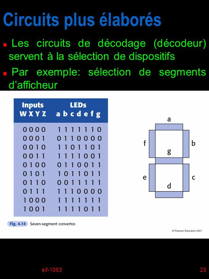 sif-105323 Circuits plus élaborés n Les circuits de décodage (décodeur) servent à la sélection de dispositifs n Par exemple: sélection de segments daf
