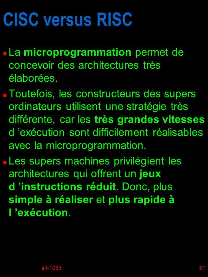 sif-105331 CISC versus RISC n La microprogrammation permet de concevoir des architectures très élaborées. n Toutefois, les constructeurs des supers or