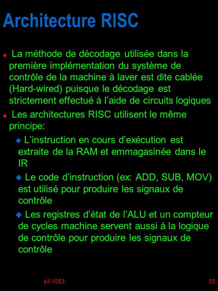sif-105333 Architecture RISC n La méthode de décodage utilisée dans la première implémentation du système de contrôle de la machine à laver est dite c