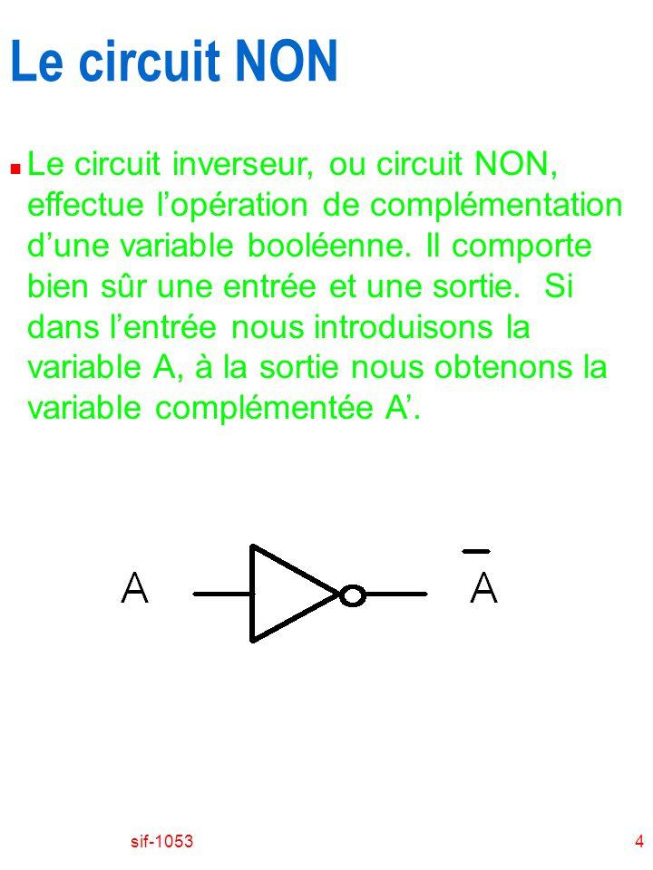 sif-10534 Le circuit NON n Le circuit inverseur, ou circuit NON, effectue lopération de complémentation dune variable booléenne. Il comporte bien sûr