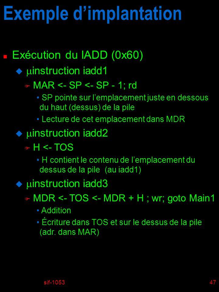sif-105347 Exemple dimplantation n Exécution du IADD (0x60) u instruction iadd1 F MAR <- SP <- SP - 1; rd SP pointe sur lemplacement juste en dessous