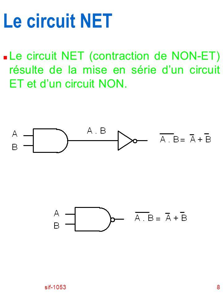 sif-10538 Le circuit NET n Le circuit NET (contraction de NON-ET) résulte de la mise en série dun circuit ET et dun circuit NON.