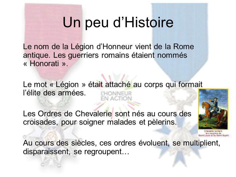 En 1802, la Légion dHonneur est créée le 19 Mai, par Bonaparte, 1 er Consul, pour récompenser les vertus et services civils et militaires.