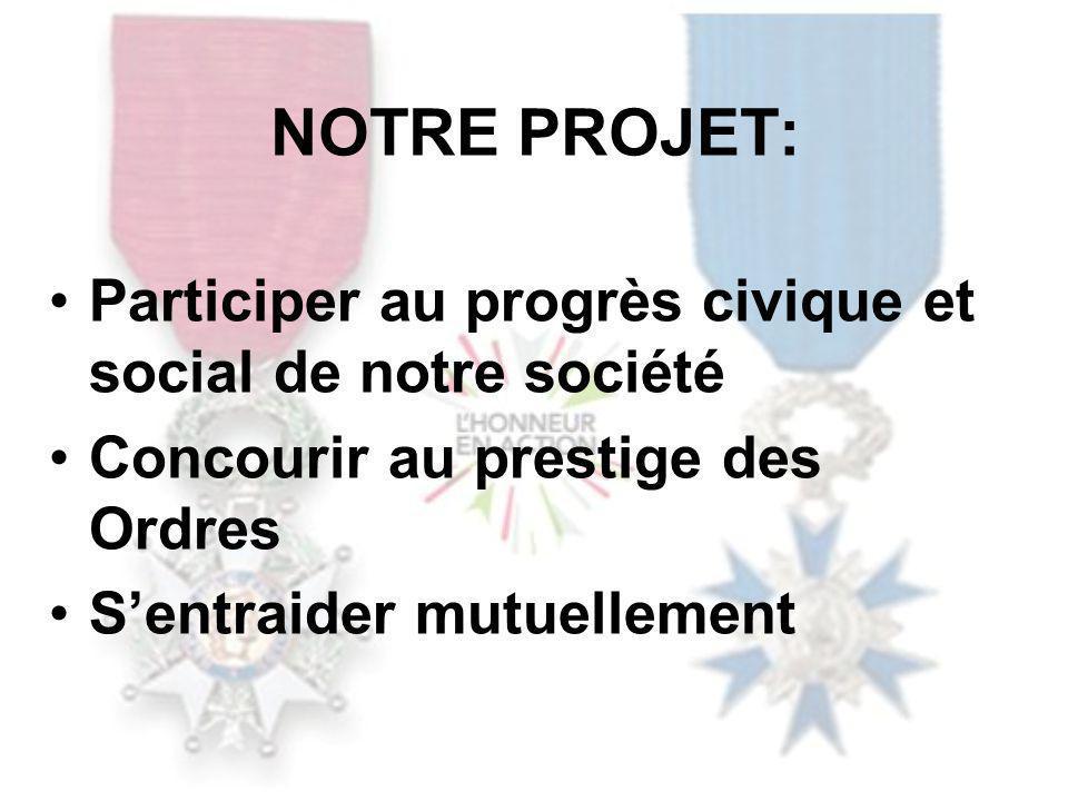 NOTRE PROJET: Participer au progrès civique et social de notre société Concourir au prestige des Ordres Sentraider mutuellement
