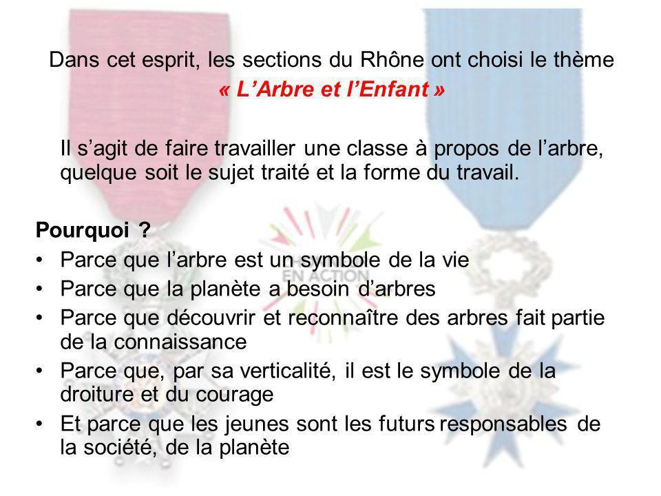 Dans cet esprit, les sections du Rhône ont choisi le thème « LArbre et lEnfant » Il sagit de faire travailler une classe à propos de larbre, quelque soit le sujet traité et la forme du travail.