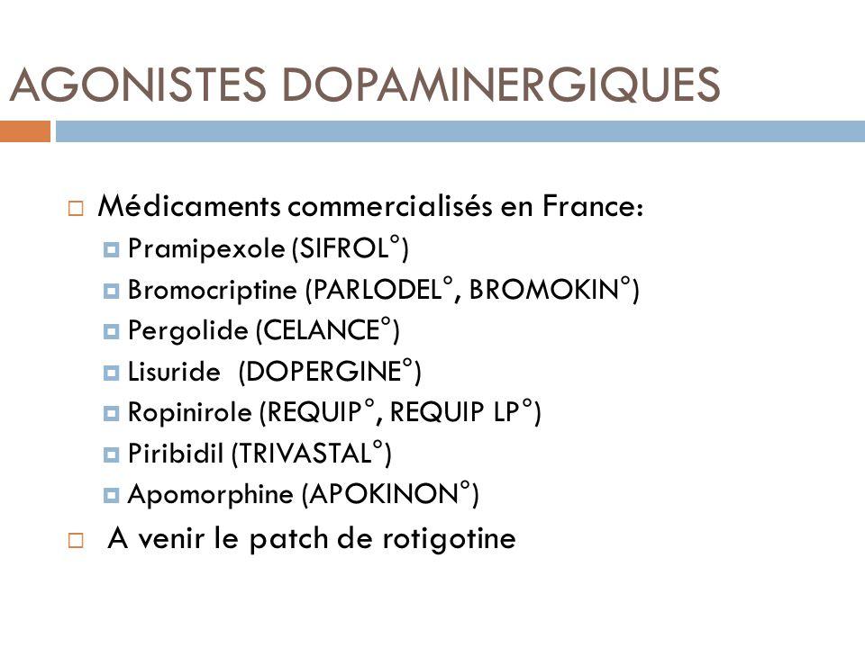 AGONISTES DOPAMINERGIQUES Médicaments commercialisés en France: Pramipexole (SIFROL°) Bromocriptine (PARLODEL°, BROMOKIN°) Pergolide (CELANCE°) Lisuri