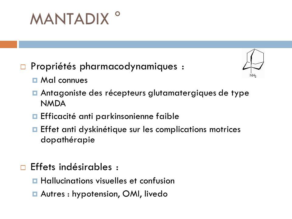 MANTADIX ° Propriétés pharmacodynamiques : Mal connues Antagoniste des récepteurs glutamatergiques de type NMDA Efficacité anti parkinsonienne faible