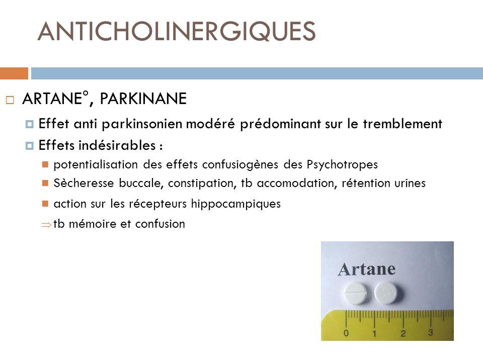 ANTICHOLINERGIQUES ARTANE°, PARKINANE Effet anti parkinsonien modéré prédominant sur le tremblement Effets indésirables : potentialisation des effets