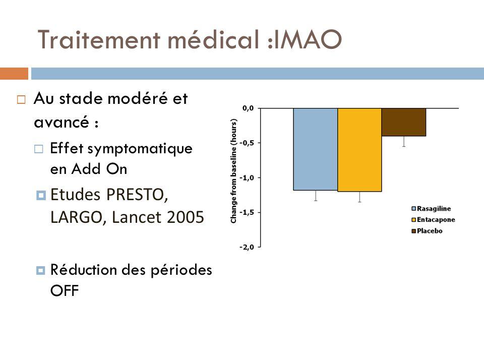 Traitement médical :IMAO Au stade modéré et avancé : Effet symptomatique en Add On Etudes PRESTO, LARGO, Lancet 2005 Réduction des périodes OFF