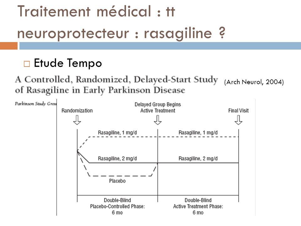 Traitement médical : tt neuroprotecteur : rasagiline ? Etude Tempo (Arch Neurol, 2004)