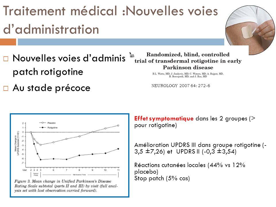 Traitement médical :Nouvelles voies dadministration Nouvelles voies dadministration : patch rotigotine Au stade précoce NEUROLOGY 2007 64: 272-6 Effet