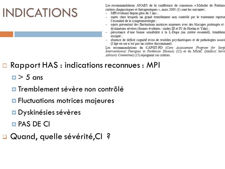 INDICATIONS Rapport HAS : indications reconnues : MPI > 5 ans Tremblement sévère non contrôlé Fluctuations motrices majeures Dyskinésies sévères PAS D