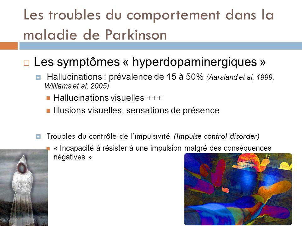Les troubles du comportement dans la maladie de Parkinson Les symptômes « hyperdopaminergiques » Hallucinations : prévalence de 15 à 50% (Aarsland et