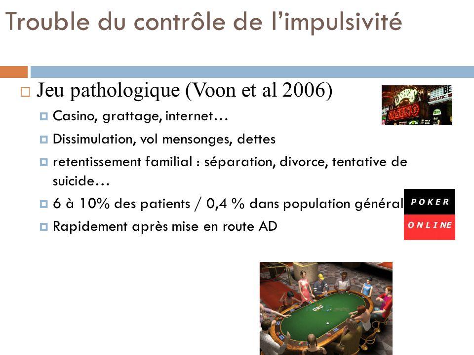 Trouble du contrôle de limpulsivité Jeu pathologique (Voon et al 2006) Casino, grattage, internet… Dissimulation, vol mensonges, dettes retentissement