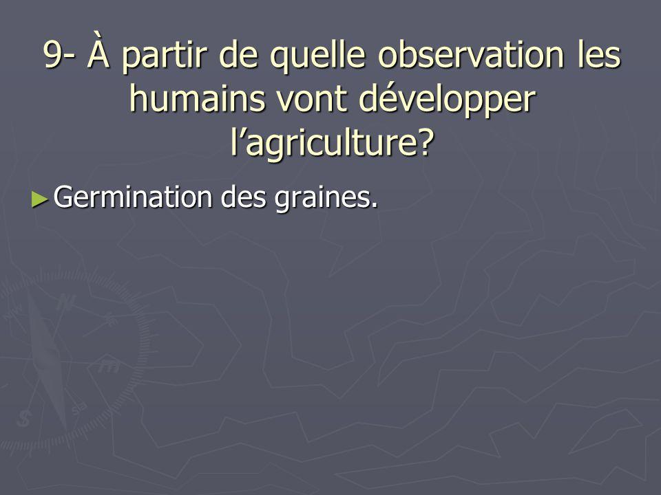 9- À partir de quelle observation les humains vont développer lagriculture? Germination des graines. Germination des graines.