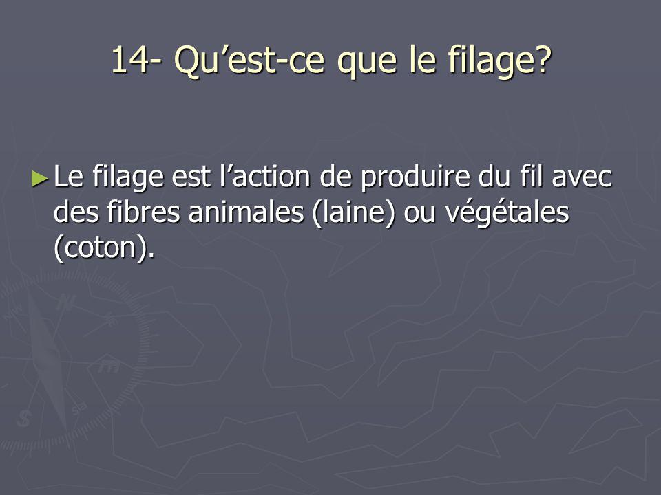 14- Quest-ce que le filage? Le filage est laction de produire du fil avec des fibres animales (laine) ou végétales (coton). Le filage est laction de p