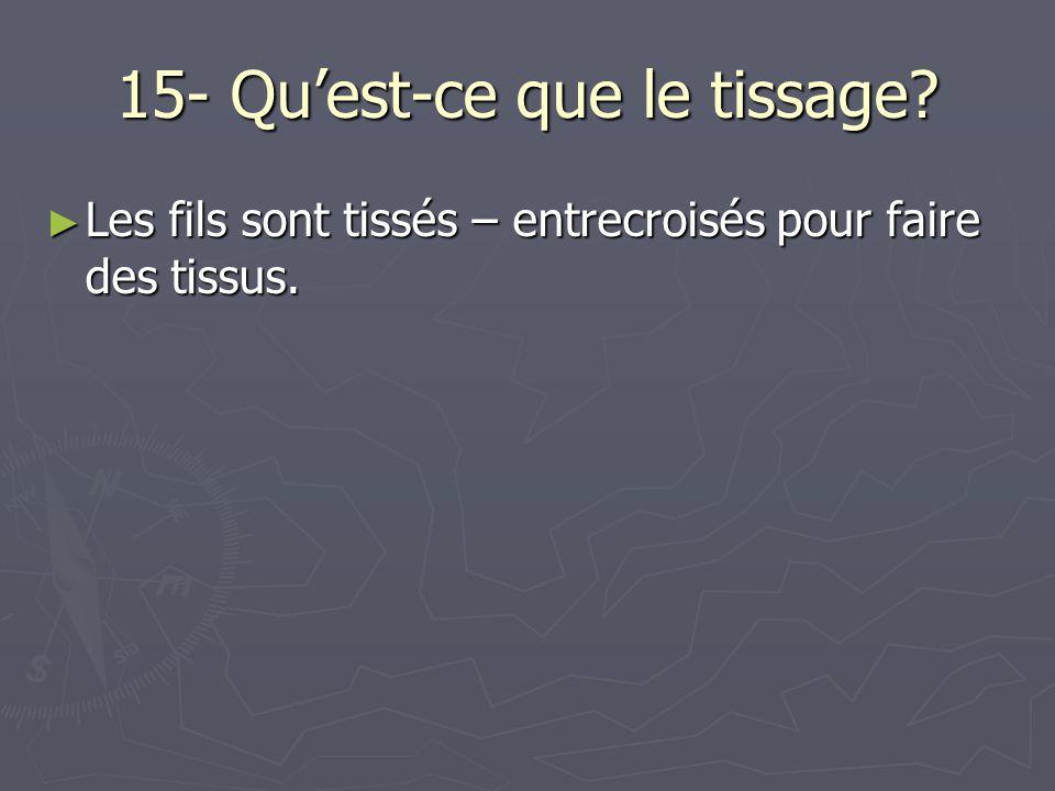 15- Quest-ce que le tissage? Les fils sont tissés – entrecroisés pour faire des tissus. Les fils sont tissés – entrecroisés pour faire des tissus.
