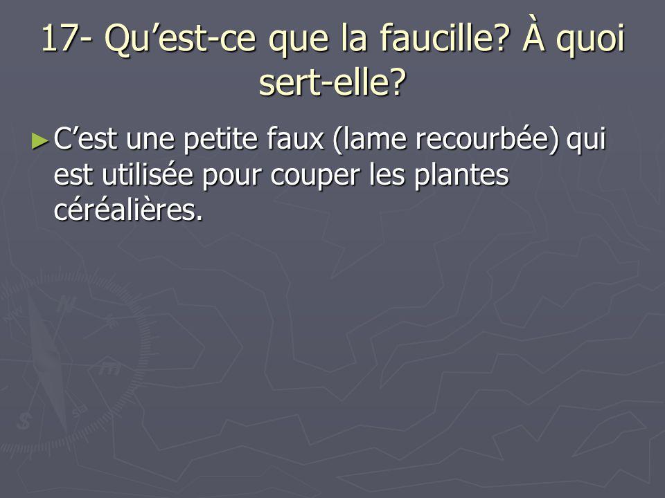 17- Quest-ce que la faucille? À quoi sert-elle? Cest une petite faux (lame recourbée) qui est utilisée pour couper les plantes céréalières. Cest une p