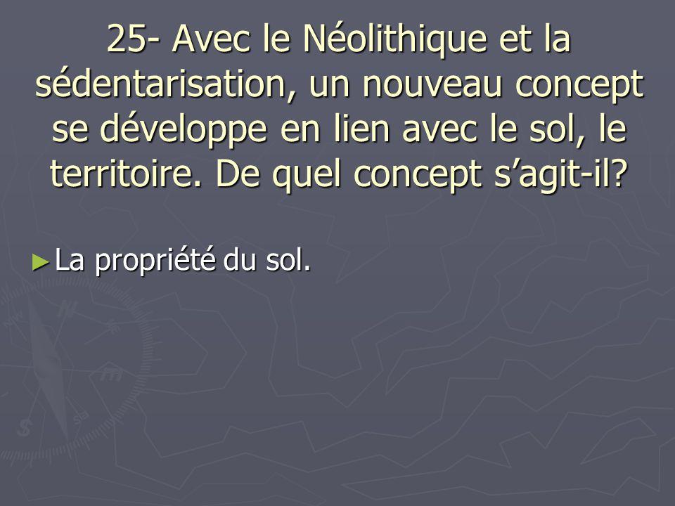 25- Avec le Néolithique et la sédentarisation, un nouveau concept se développe en lien avec le sol, le territoire. De quel concept sagit-il? La propri