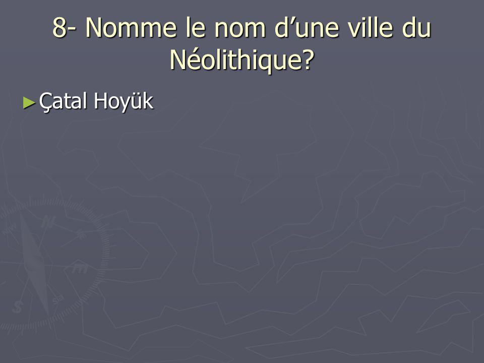 8- Nomme le nom dune ville du Néolithique? Çatal Hoyük Çatal Hoyük