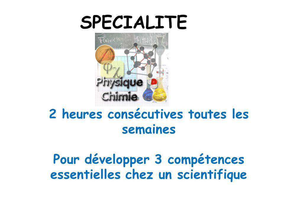 SPECIALITE 2 heures consécutives toutes les semaines Pour développer 3 compétences essentielles chez un scientifique