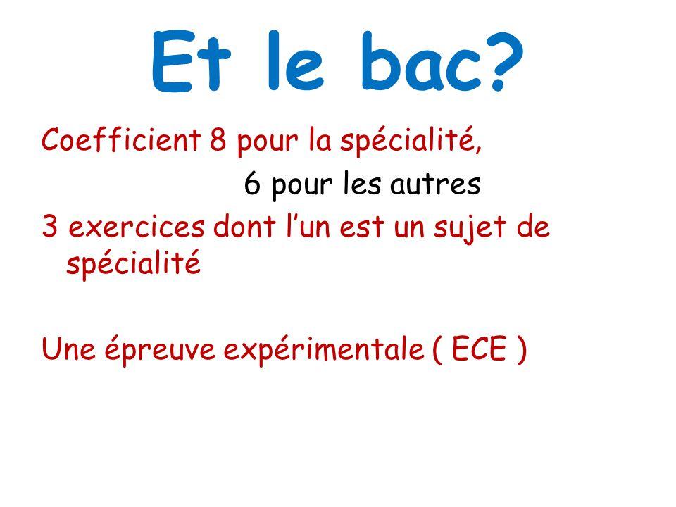 Et le bac? Coefficient 8 pour la spécialité, 6 pour les autres 3 exercices dont lun est un sujet de spécialité Une épreuve expérimentale ( ECE )