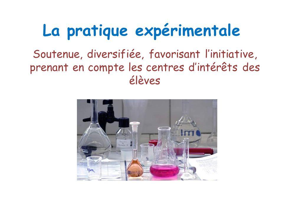 La pratique expérimentale Soutenue, diversifiée, favorisant linitiative, prenant en compte les centres dintérêts des élèves